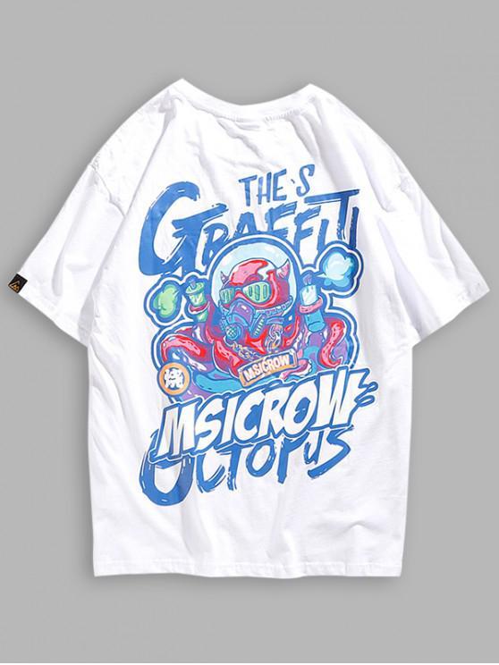 womens Round Neck Graffiti Graphic Print T-shirt - WHITE M