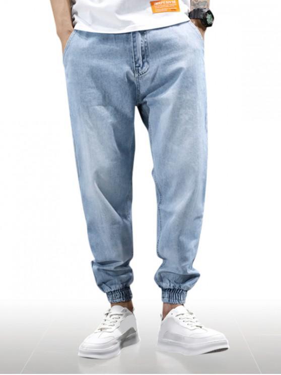 Jogger Jeans de Color Sólido con Cremallera - Azul Denim 32