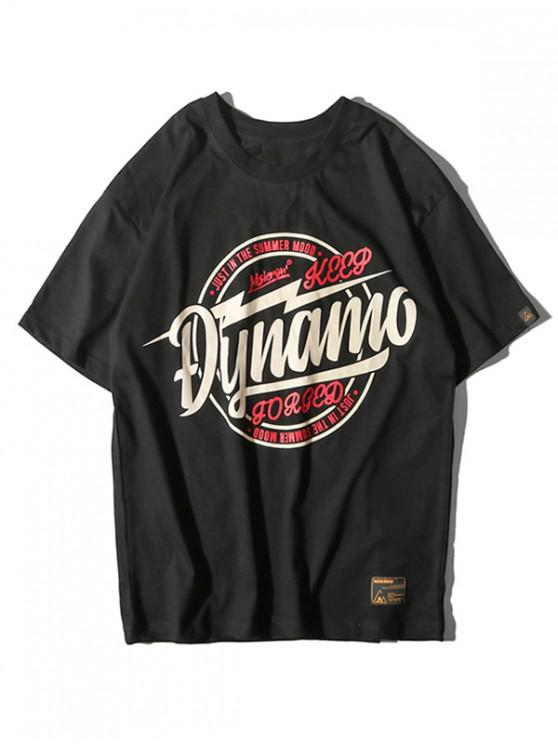 Kurzarm Buchstabe Grafik Applique T-Shirt - Schwarz 2XL