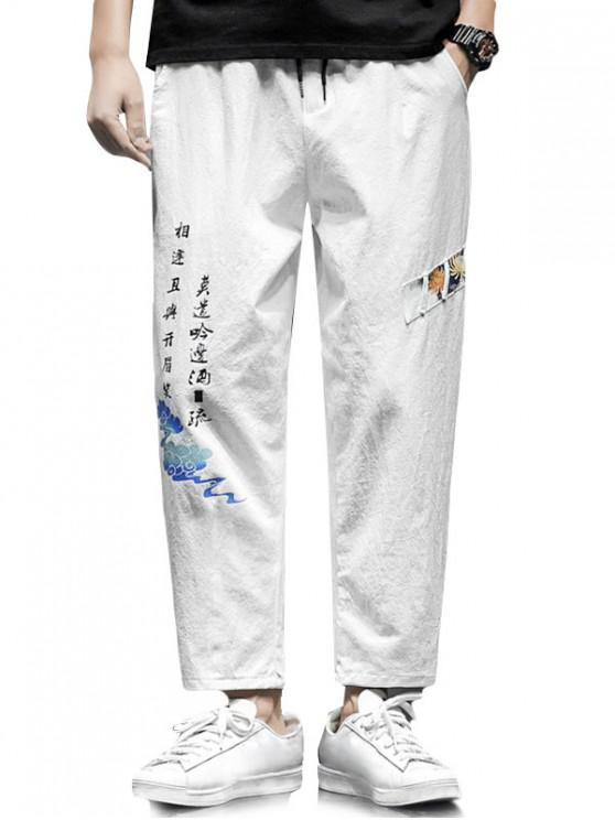 best Floral Letter Graphic Print Casual Pants - WHITE 2XL