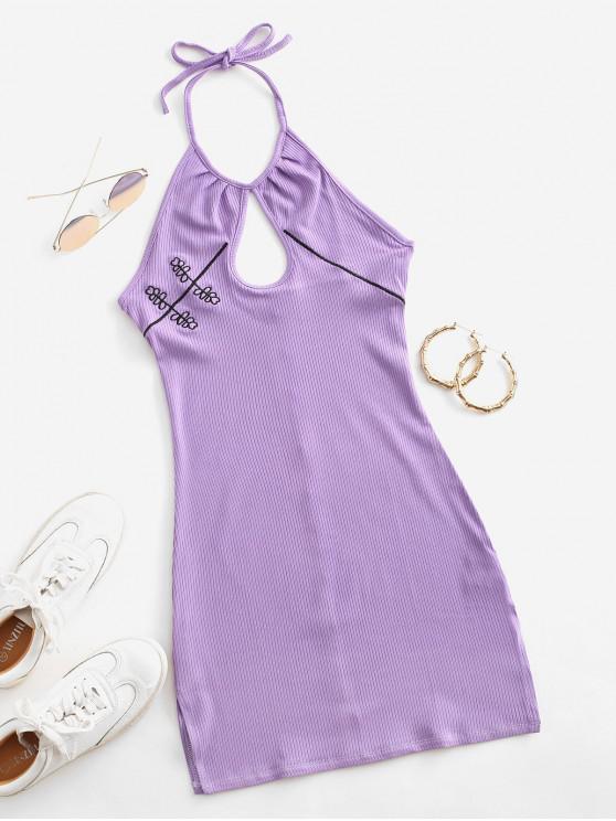 shops Embroidered Ribbed Keyhole Halter Dress - PURPLE S