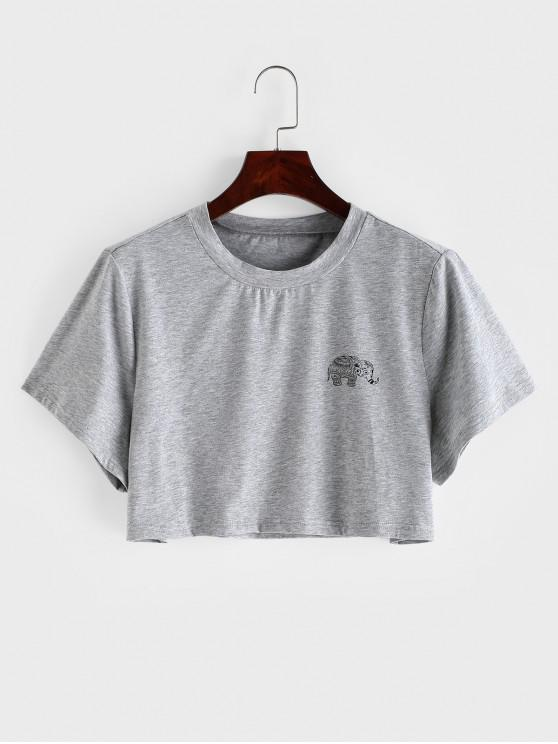 unique Marled Elephant Graphic Crop Tee - GRAY S