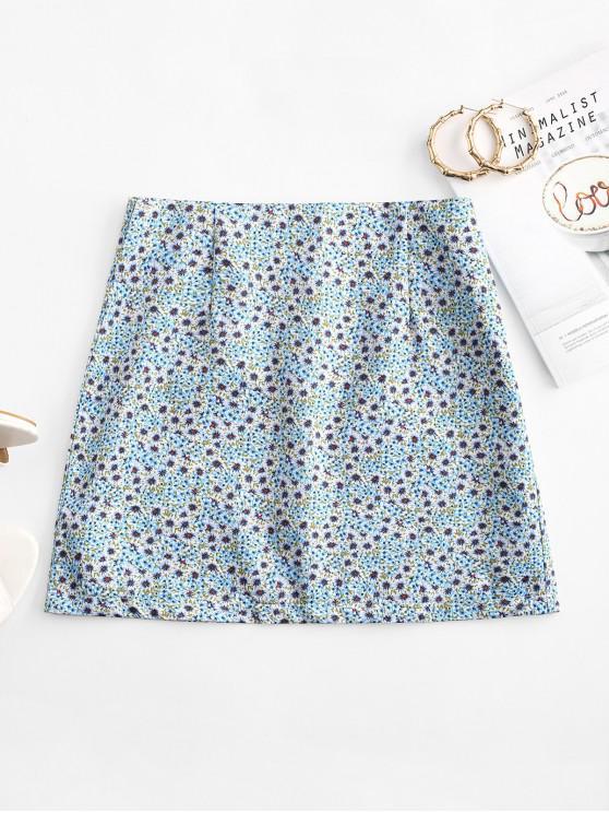 unique Ditsy Print A Line Skirt - LIGHT BLUE M