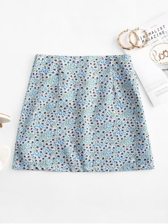 outfit Ditsy Print A Line Skirt - LIGHT BLUE S