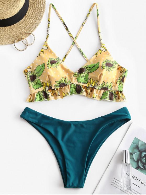 ZAFUL Sunflower Polka Dot Crisscross Bikini Swimwear - الطاووس الأزرق S