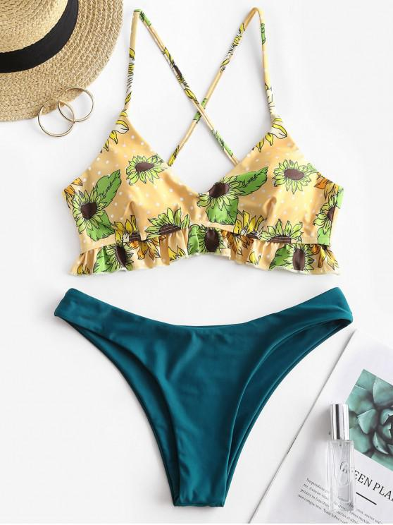 fashion ZAFUL Sunflower Polka Dot Crisscross Bikini Swimwear - PEACOCK BLUE L