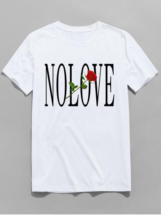womens ZAFUL Flower Letter Print Short Sleeves T-shirt - WHITE S