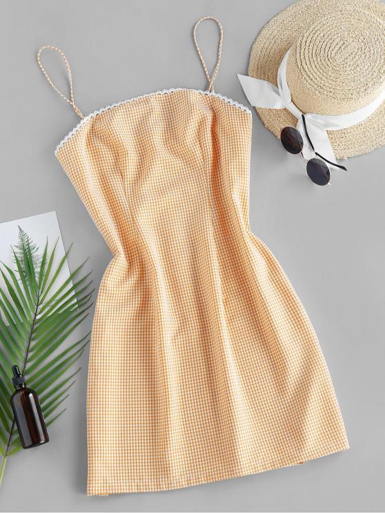 lady ZAFUL Checked Mini Cami Dress - SAFFRON L