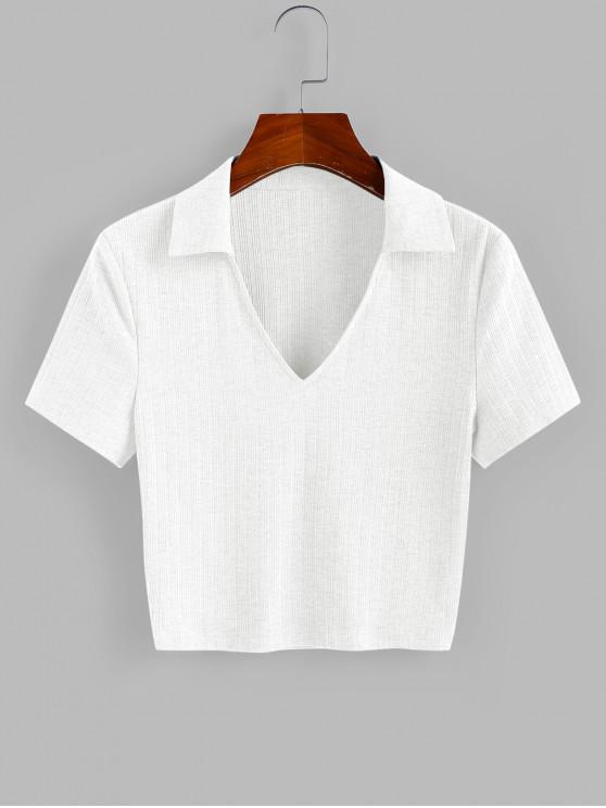 women's ZAFUL Ribbed V Notched Crop T-shirt - WHITE S