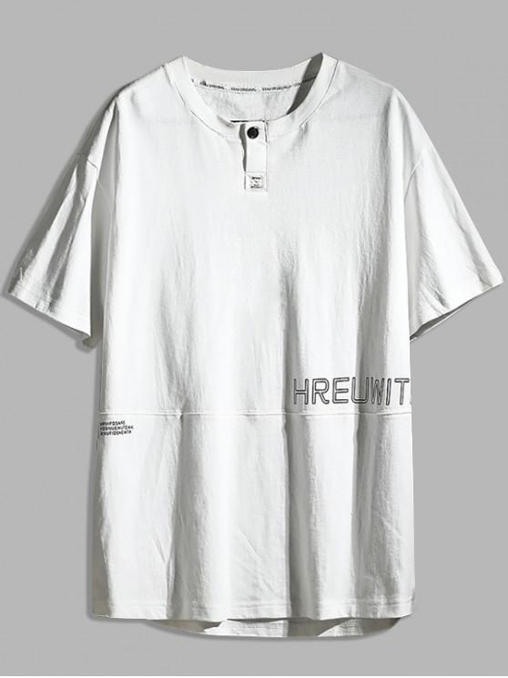 outfit Letter Print Casual Cotton T-shirt - WHITE 2XL