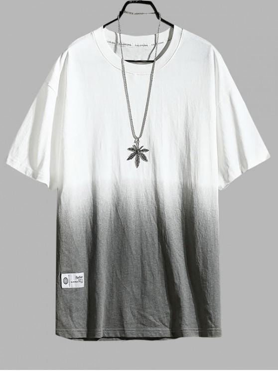 Ombre de imprimare Casual mâneci scurte T-shirt - alb 3XL