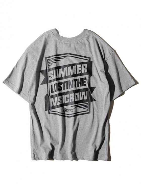 women Letter Geometric Graphic Print T-shirt - GRAY XL