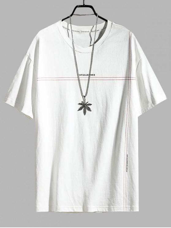 Letter Printing Round Neck Simple T-shirt - أبيض 2XL