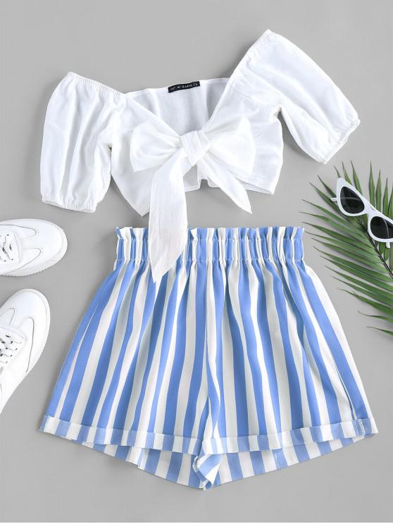 lady ZAFUL Tied Crop Top and Stripe Paperbag Shorts Set - CRYSTAL BLUE M
