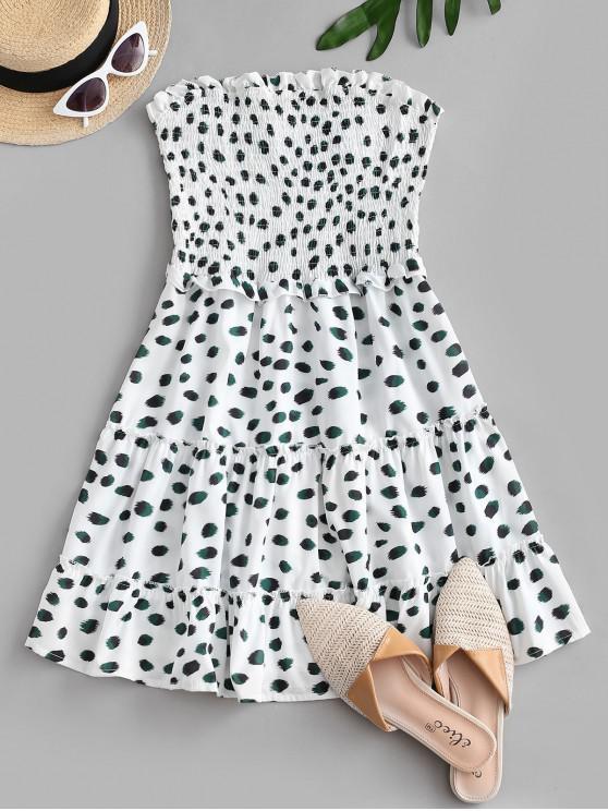 outfits Smocked Printed Bandeau A Line Dress - WHITE S