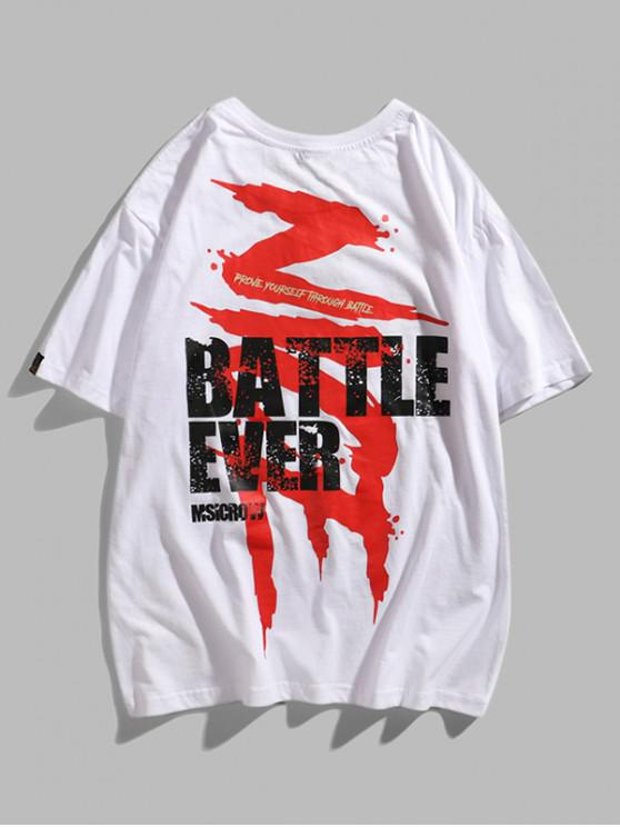 outfit Battle Ever Paint Graphic Basic T-shirt - WHITE 2XL