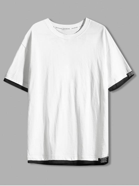 Color Spliced Letter Printed T-shirt - أبيض XL