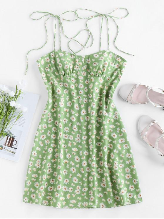 outfit ZAFUL Backless Ditsy Print Tie Shoulder Dress - PISTACHIO GREEN L