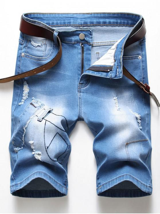 Ripped Patchworks Decorated Denim Shorts - ازرق 32