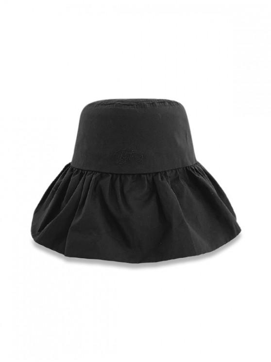 lady Sun Protection Flouncing Fisherman Hat - BLACK