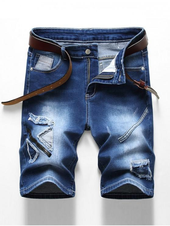 Patchworks Decoration Zip Fly Denim Shorts - الدينيم الأزرق الداكن 32
