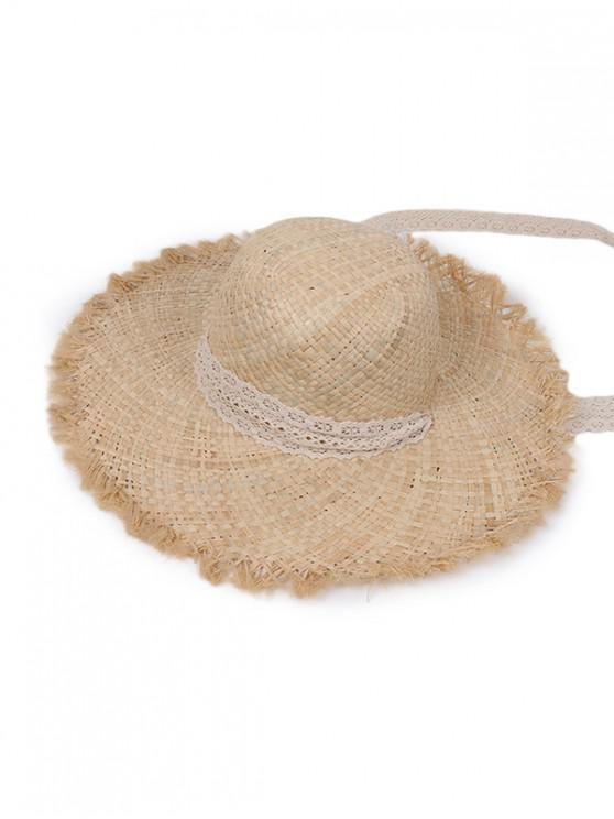 hot Lace Tape Raw Edge Straw Hat - BEIGE