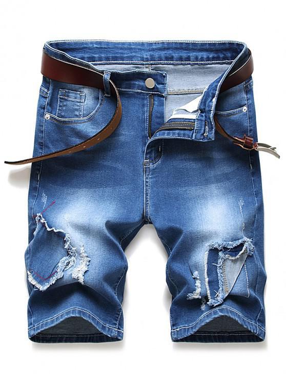Patchworks Ripped Decorated Denim Shorts - الدينيم الأزرق الداكن 42