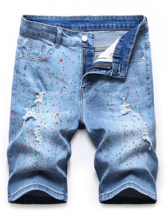 Pigmented Dot Print Denim Shorts - ازرق 42