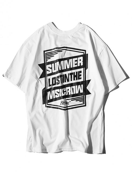 Scrisoare geometrică Graphic Print T-shirt - alb 2XL