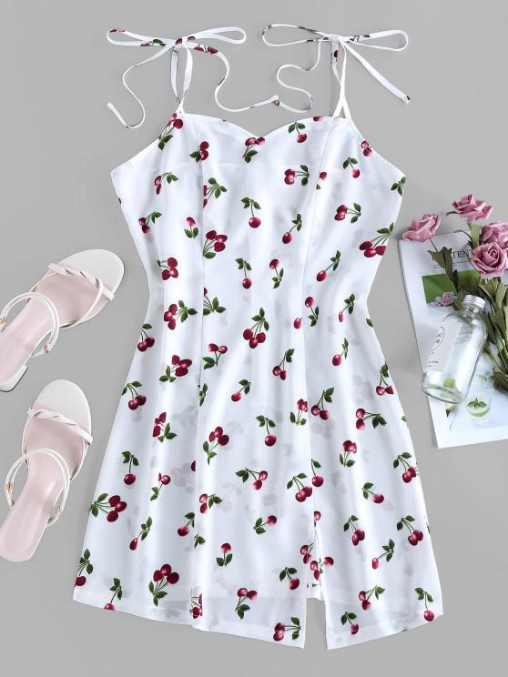 ZAFUL Cereja de Impressão Gravata Ombro Mini Vestido com Fenda - Branco S