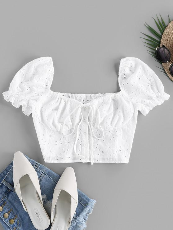 shop ZAFUL Embroidered Puff Sleeve Crop Blouse - WHITE M