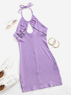 Embroidered Ribbed Keyhole Halter Dress - Purple M