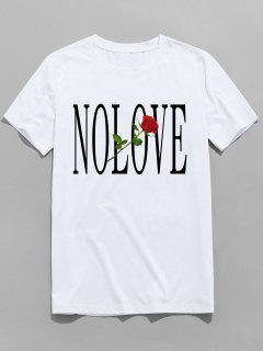 ZAFUL Flower Letter Print Short Sleeves T-shirt - White L