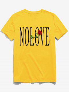 ZAFUL Flower Letter Print Short Sleeves T-shirt - Bright Yellow S