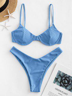 ZAFUL Reversible Ribbed Underwire Bikini Swimsuit - Crystal Blue M