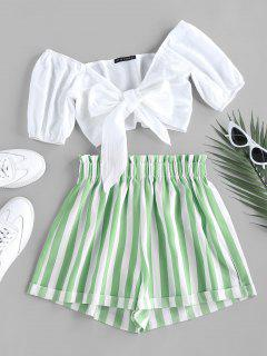 ZAFUL Tied Crop Top And Stripe Paperbag Shorts Set - Light Green M