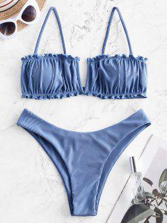 Costume Da Bagno Bikini A Costine A Gamba Alta Di ZAFUL Con Ferretto A V - Blu Cielo  S