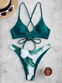 ZAFUL Kreuzer Und Querer Bikini Badebekleidung Mit Blumenmuster Und Schnürung - Pfauenblau M