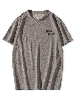 T-shirt Lettre Planète Imprimés à Manches Courtes - Brun 2xl