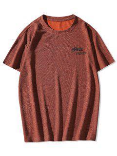 Planet Letter Printed Short Sleeves T-shirt - Firebrick Xl