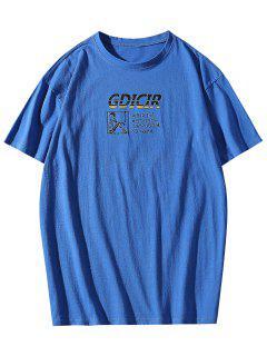 T-shirt Com Impressão Gráfica E Colar Redondo - Azul Xl
