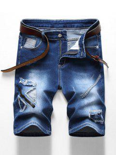 Patchworks Decoration Zip Fly Denim Shorts - Denim Dark Blue 42