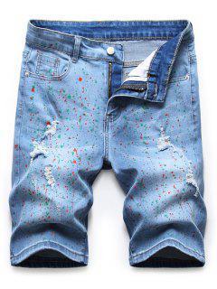 Rändel Tupfen Denim Shorts - Denim Blau 36