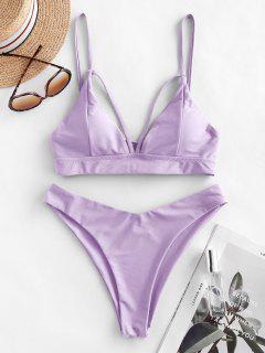 ZAFUL Strappy Lace-up Bikini Swimsuit - Lavender Blue S