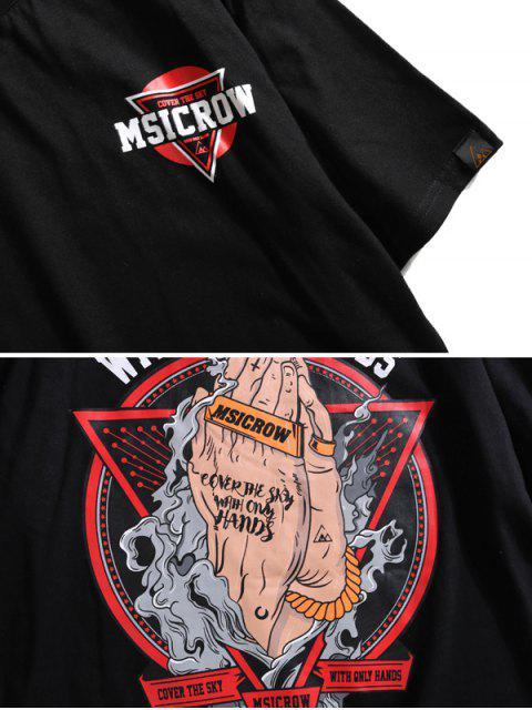 Abdeckung auf Himmel Hände und Grafisches Grundlegendes T-Shirt - Schwarz XL Mobile