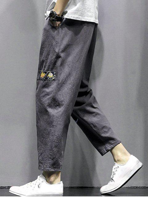 outfit Floral Letter Graphic Print Casual Pants - DARK GRAY XL Mobile