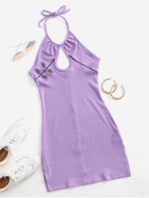 Vestido Halter Acanalado Bordado Ojo de Cerradura - Púrpura M Mobile