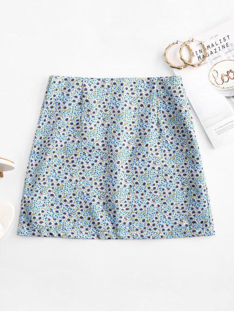 unique Ditsy Print A Line Skirt - LIGHT BLUE M Mobile
