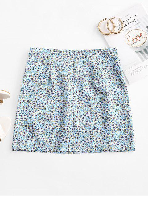 outfit Ditsy Print A Line Skirt - LIGHT BLUE S Mobile