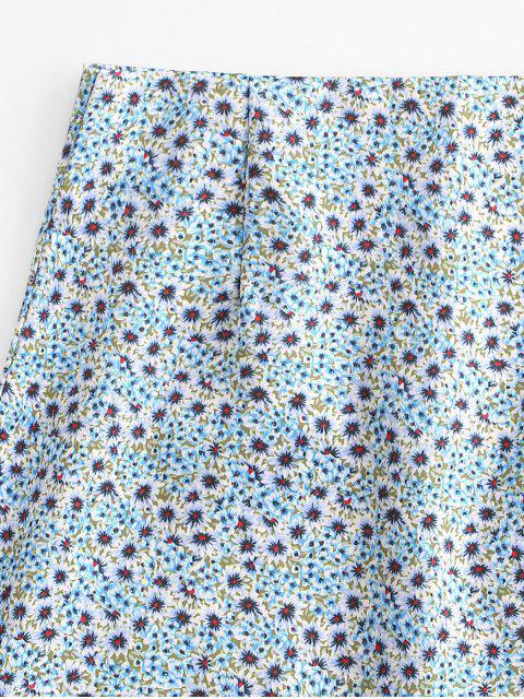 women Ditsy Print A Line Skirt - LIGHT BLUE L Mobile